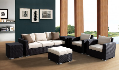 Sunset West Solana 6 Piece Wicker Conversation Set