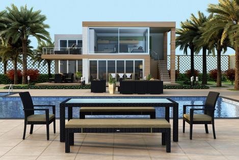 Harmonia Living Urbana Rectangular 5 Piece Wicker Bench Dining Set