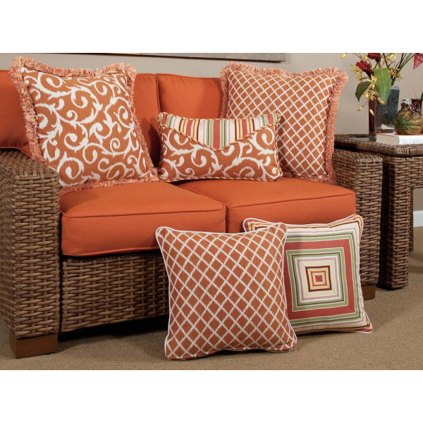 South Sea Rattan All Weather Apricot 5 Piece Throw Pillow Set
