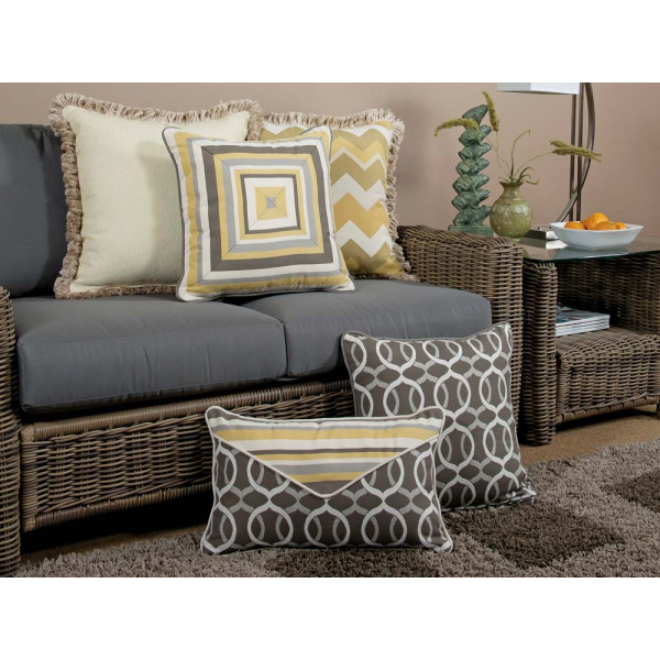 South Sea Rattan All Weather Lemon Grass 5 Piece Throw Pillow Set