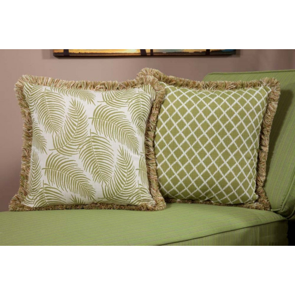 South Sea Rattan All Weather Palm Large Throw Pillow