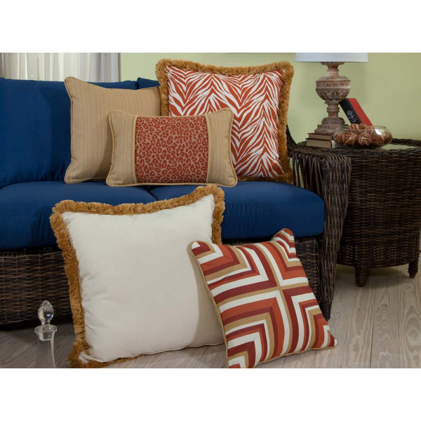 South Sea Rattan All Weather Mandarin 5 Piece Throw Pillow Set