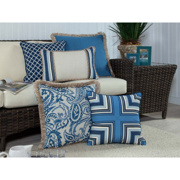 South Sea Rattan All Weather Neptune 5 Piece Throw Pillow Set