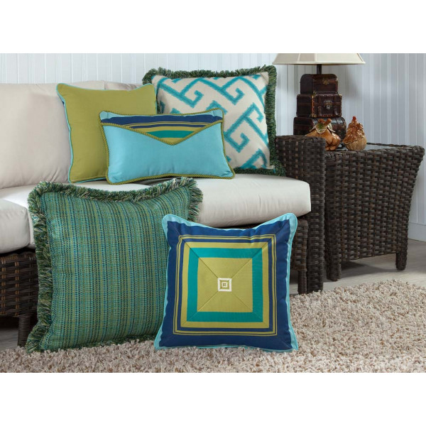 South Sea Rattan All Weather Calypso 5 Piece Throw Pillow Set