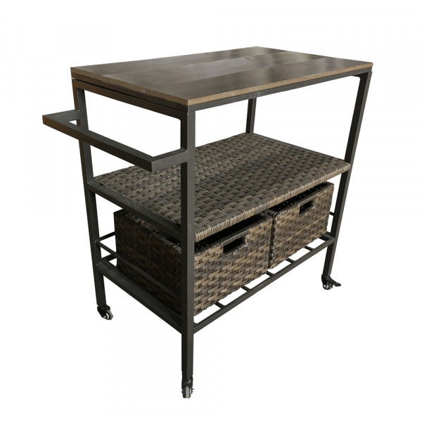 Thy - HOM Wicker Serving Cart with Wheels
