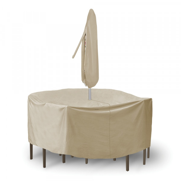 PCI Round Dining Set Outdoor Furniture Cover with Umbrella Hole - Tan
