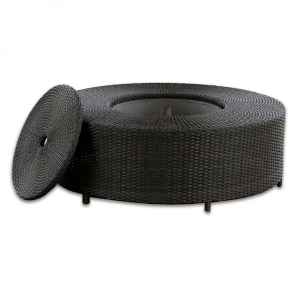 Source Outdoor Circa Round Wicker Coffee Table with Ice Bucket