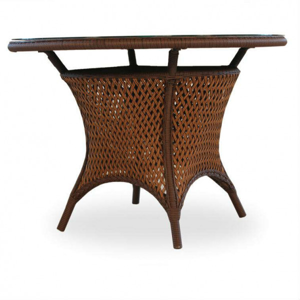 """42"""" Round Umbrella Table - Woven Top with Lay On Glass"""