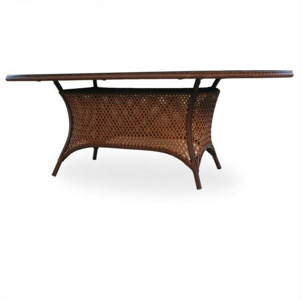 "Grand Traverse 84"" Oval Umbrella Table - Woven Top with Lay On Glass"