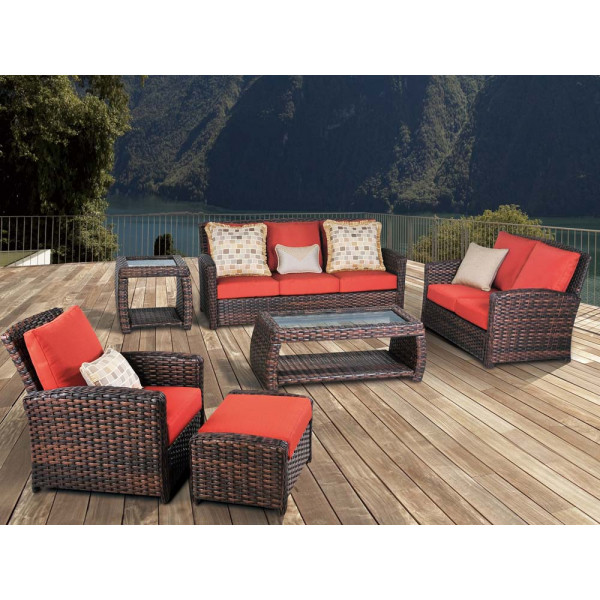 South Sea Rattan Huntington 6 Piece Wicker Conversation Set
