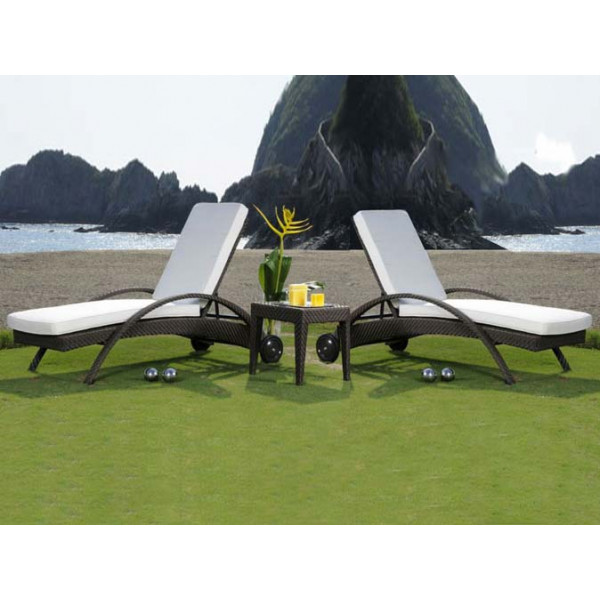 Hospitality Rattan Soho 3 Piece Wicker Chaise Lounge Set
