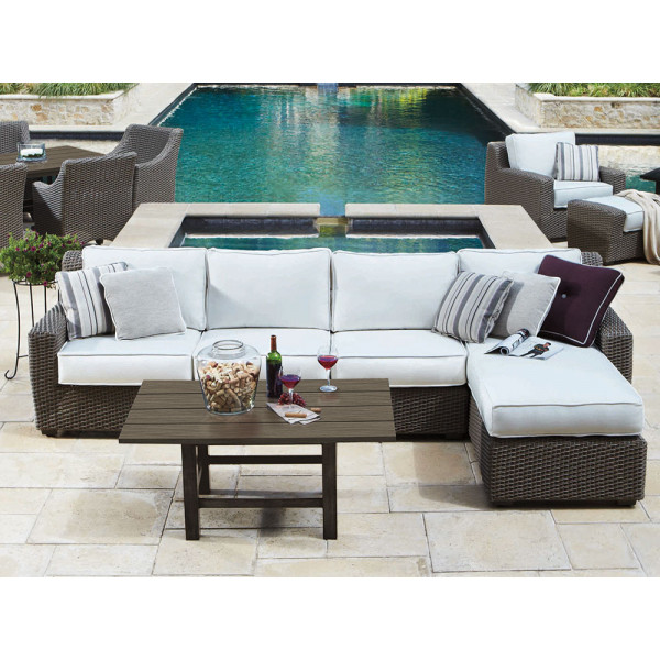 WhiteCraft by Woodard Augusta 4 Piece Wicker Sectional Set
