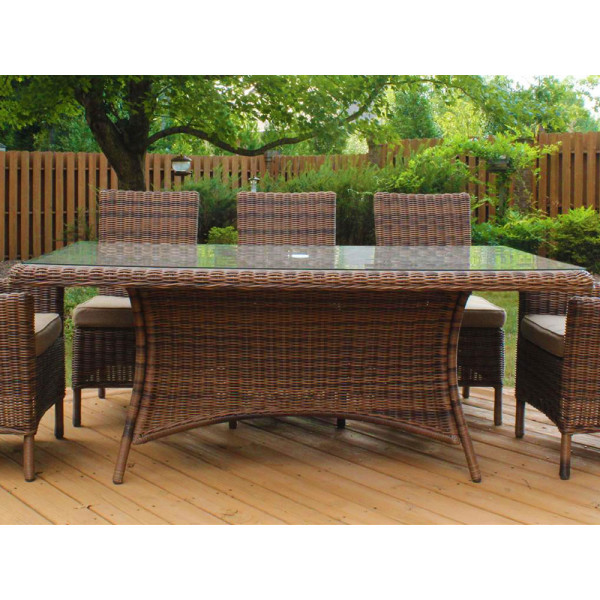 "South Sea Rattan Del Ray 72"" x 42"" Wicker Dining Table"