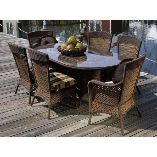 Lloyd Flanders Grand Traverse 7 Piece Wicker Dining Set