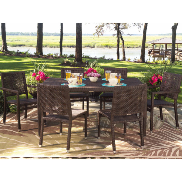 WhiteCraft by Woodard Miami 7 Piece Wicker Dining Set