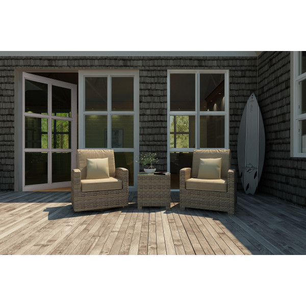 Forever Patio Cypress 3 Piece Wicker Chat Set