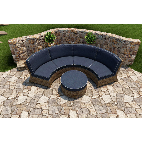 Forever Patio Cypress 3 Piece Wicker Curved Sectional Set