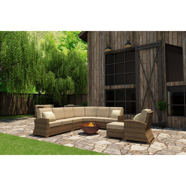 Forever Patio Cypress 7 Piece Wicker Sectional Set