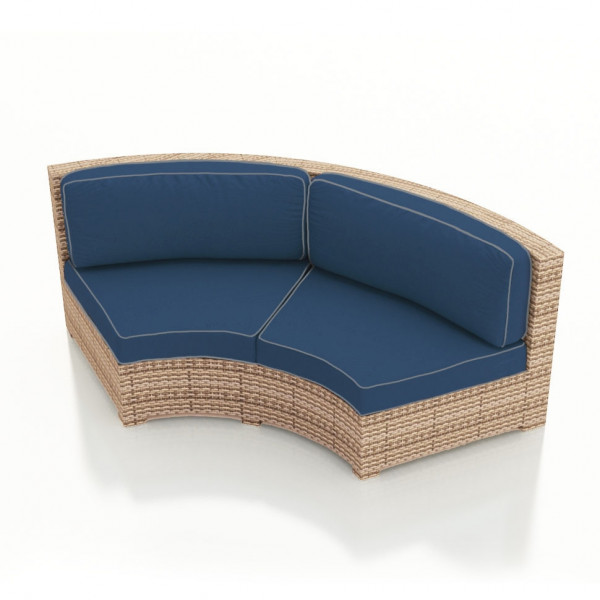 Forever Patio Hampton Curved Wicker Sofa - Biscuit Wicker