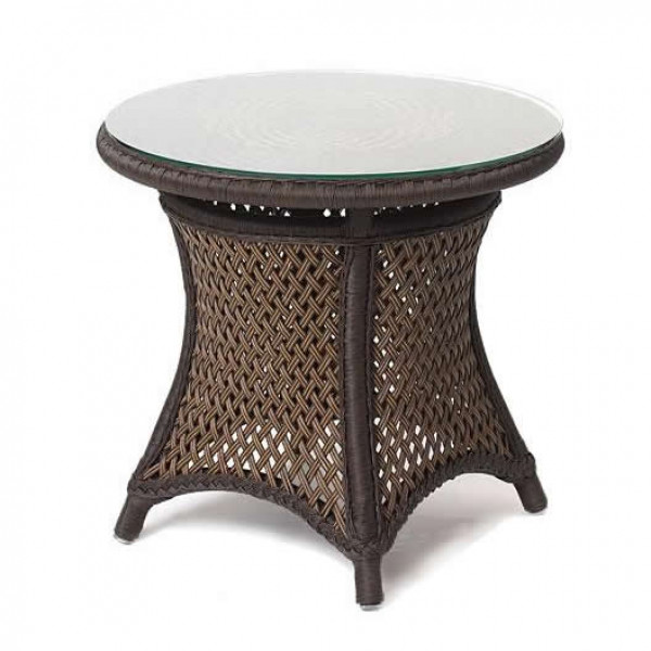 "Lloyd Flanders Grand Traverse 24"" Wicker End Table with Glass Top"