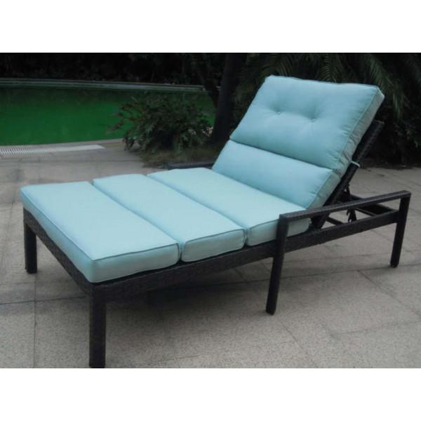 Longboat key santa monica wicker adjustable double chaise for Black wicker chaise lounge