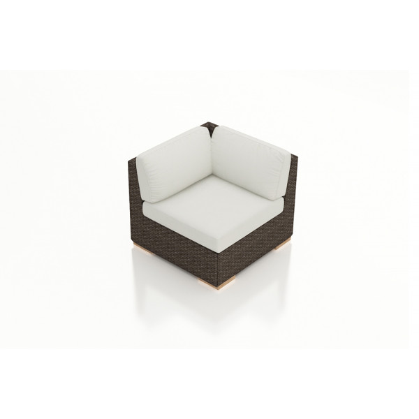 Harmonia Living Arden Chestnut Corner Section Chair - Sunbrella Canvas Natural