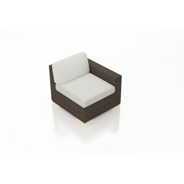 Harmonia Living Arden Chestnut Right Arm Section Chair - Sunbrella Canvas Natural