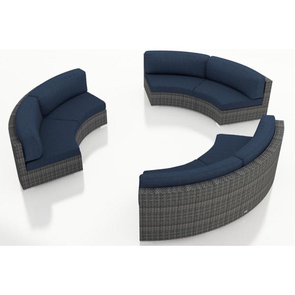 Harmonia Living District 3 Piece Wicker Curved Sectional Set - Sunbrella Spectrum Indigo