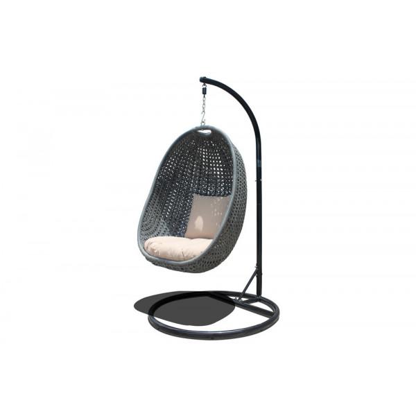 Harmonia Living Nimbus 2 Piece Wicker Hanging Chair Set - Textured Slate