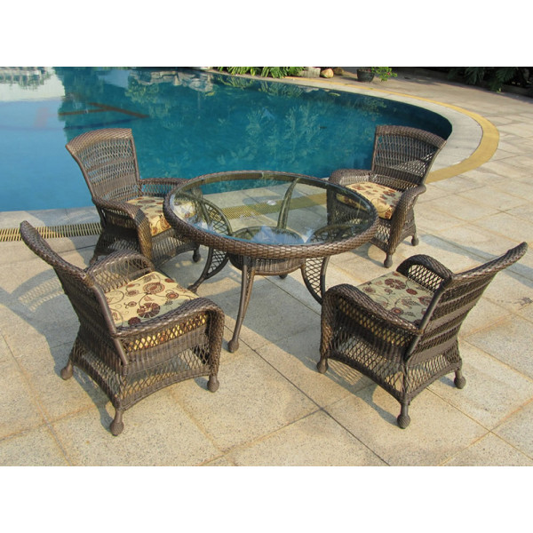 Longboat Key Incline 5 Piece Wicker Dining Set