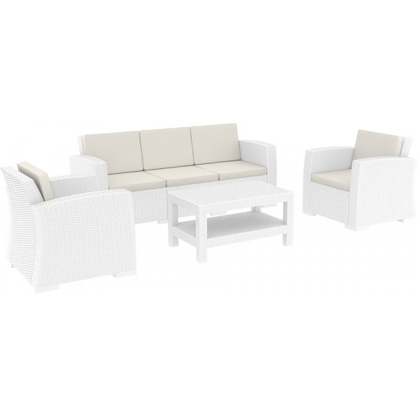 Compamia Monaco 4 Piece Wicker Sofa Conversation Set   White
