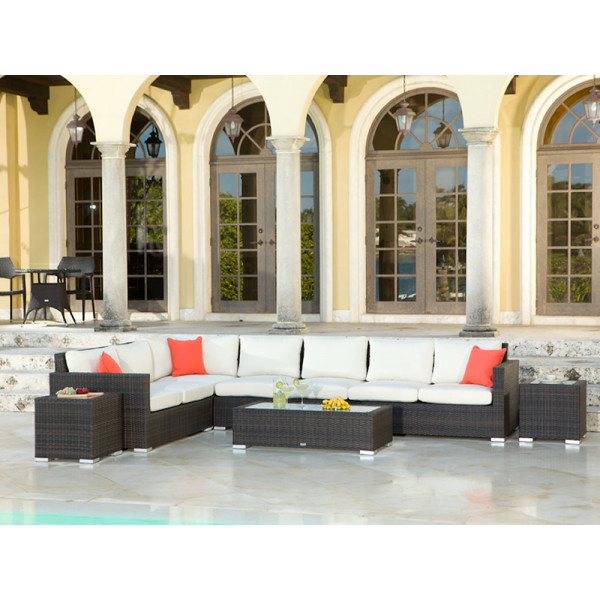 Source Outdoor Lucaya 8 Piece Wicker Sectional Set