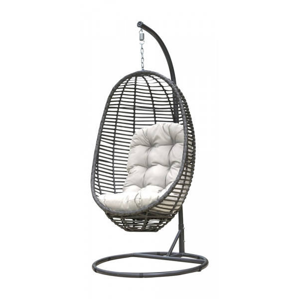 Panama Jack Graphite Wicker Hanging Chair With Stand