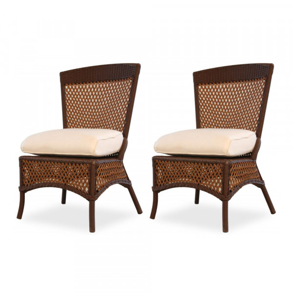 Lloyd Flanders Grand Traverse Armless Wicker Dining Chair Pair