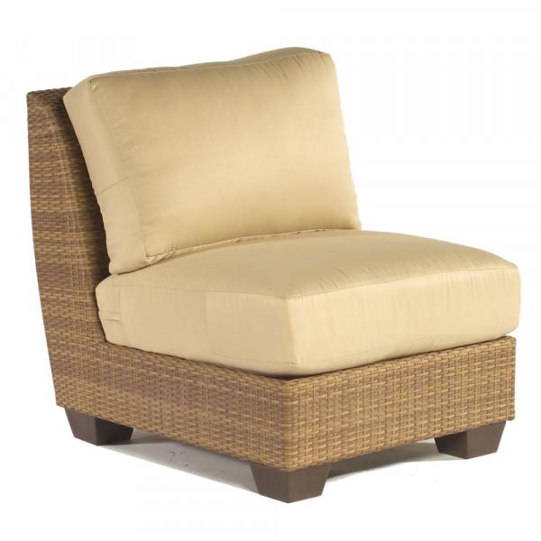 WhiteCraft by Woodard Saddleback Armless Wicker Lounge Chair
