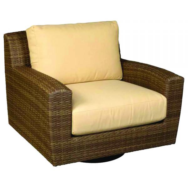 WhiteCraft By Woodard Saddleback Wicker Swivel Chair