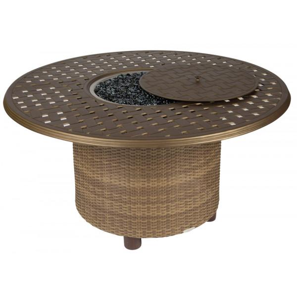 WhiteCraft by Woodard Saddleback Round Wicker Fire Table