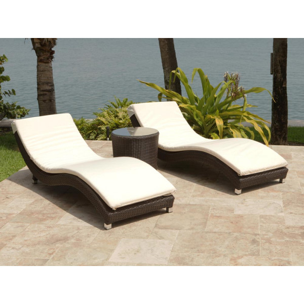Source Outdoor Wave 3 Piece Wicker Chaise Lounge Chat Set