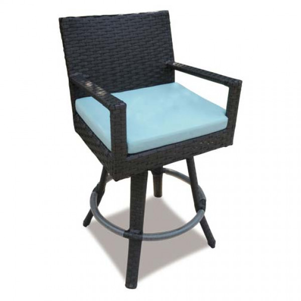 Longboat Key Santa Monica Wicker Swivel Bar Chair