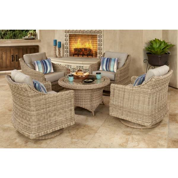 Forever Patio Carlisle 5 Piece Wicker Chat Set