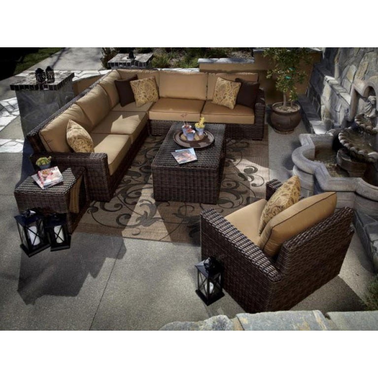Magnificent Sunset West Montecito 3 Piece Wicker Sectional Sets Onthecornerstone Fun Painted Chair Ideas Images Onthecornerstoneorg
