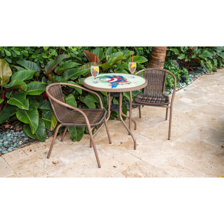 Awesome Panama Jack Cafe 3 Piece Wicker Bistro Set Wicker Bistro Onthecornerstone Fun Painted Chair Ideas Images Onthecornerstoneorg