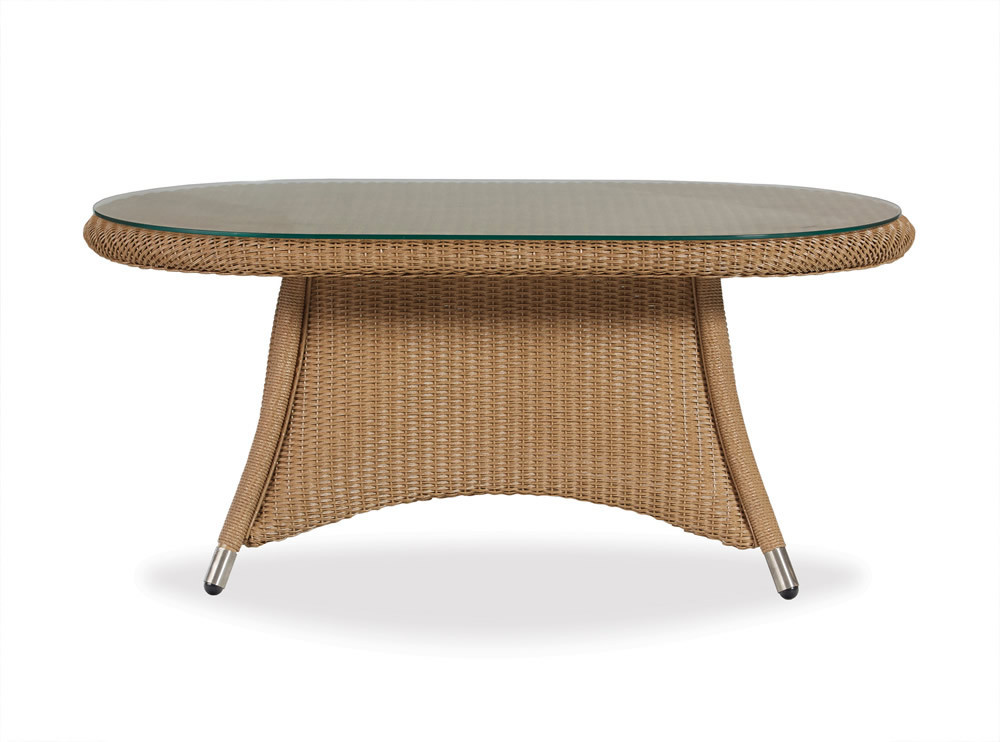 Lloyd flanders generations oval wicker cocktail table with for Coffee tables with seating