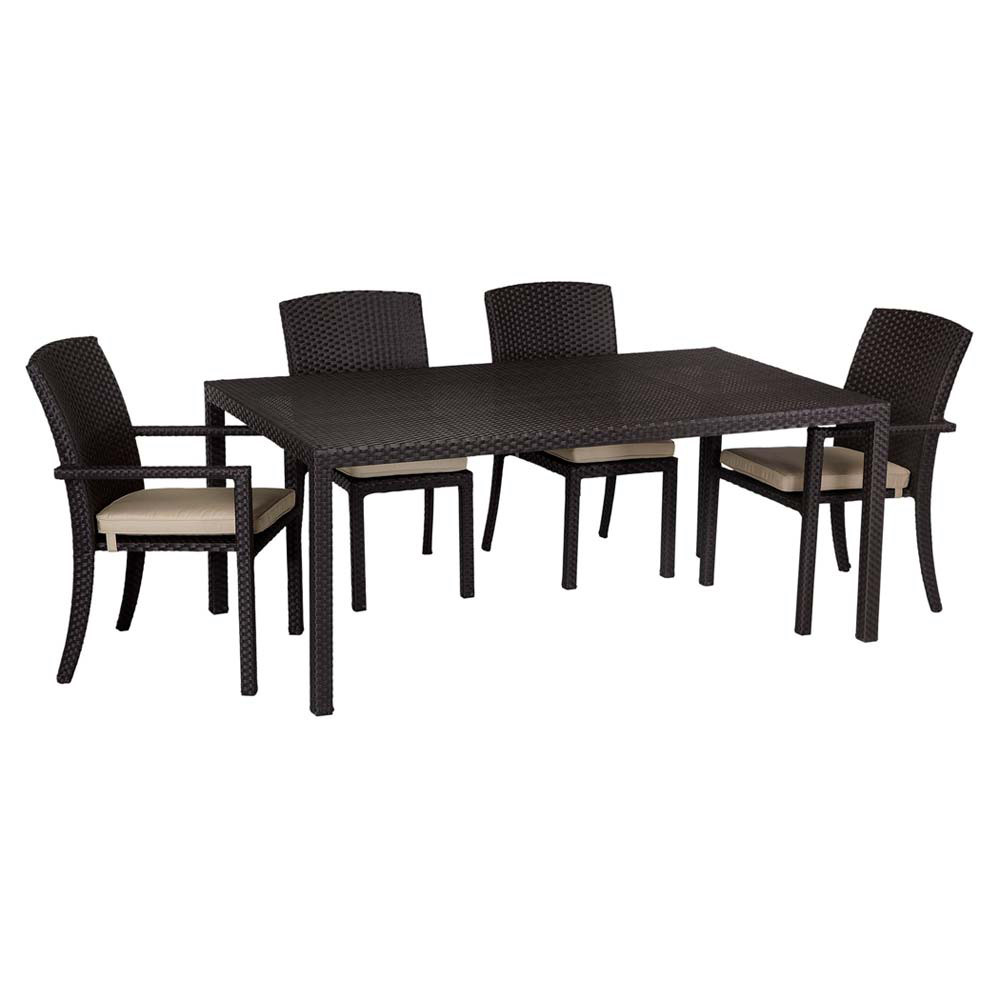 "Northcape Patio Furniture Sunset West Solana 5 Piece 72"" Dining Table Set - Wicker.com"