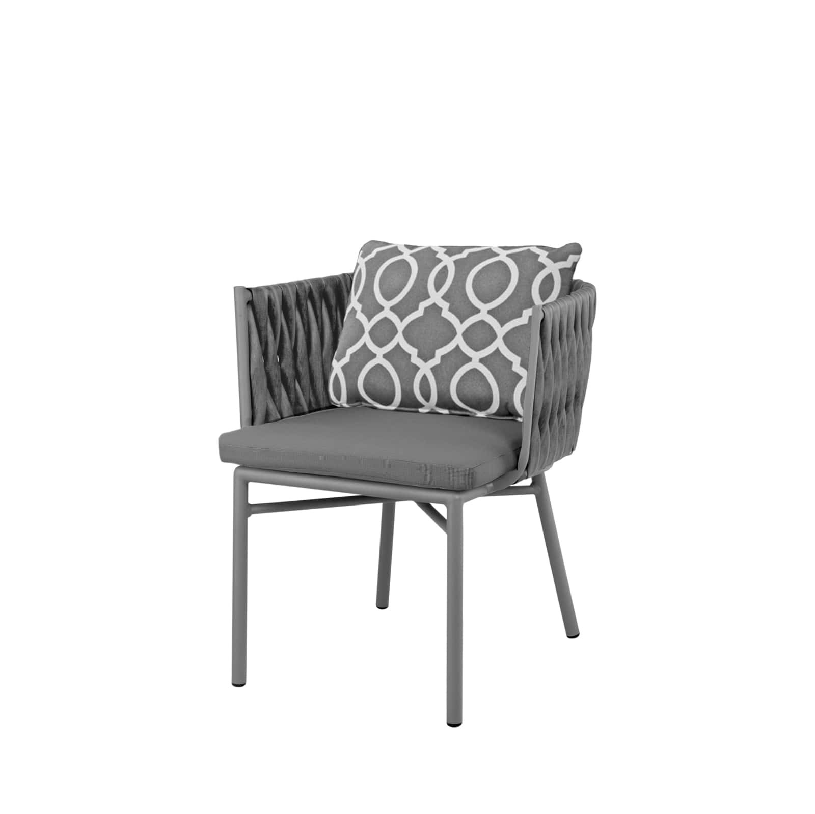 Source Outdoor Aria Wicker Dining Chair Kessler Silver With Gray Weave