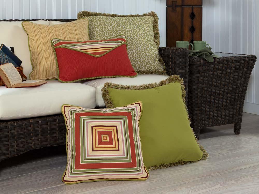 South Sea Rattan All Weather Geranium 5 Piece Throw Pillow Set - South Sea Rattan Throw Pillows ...
