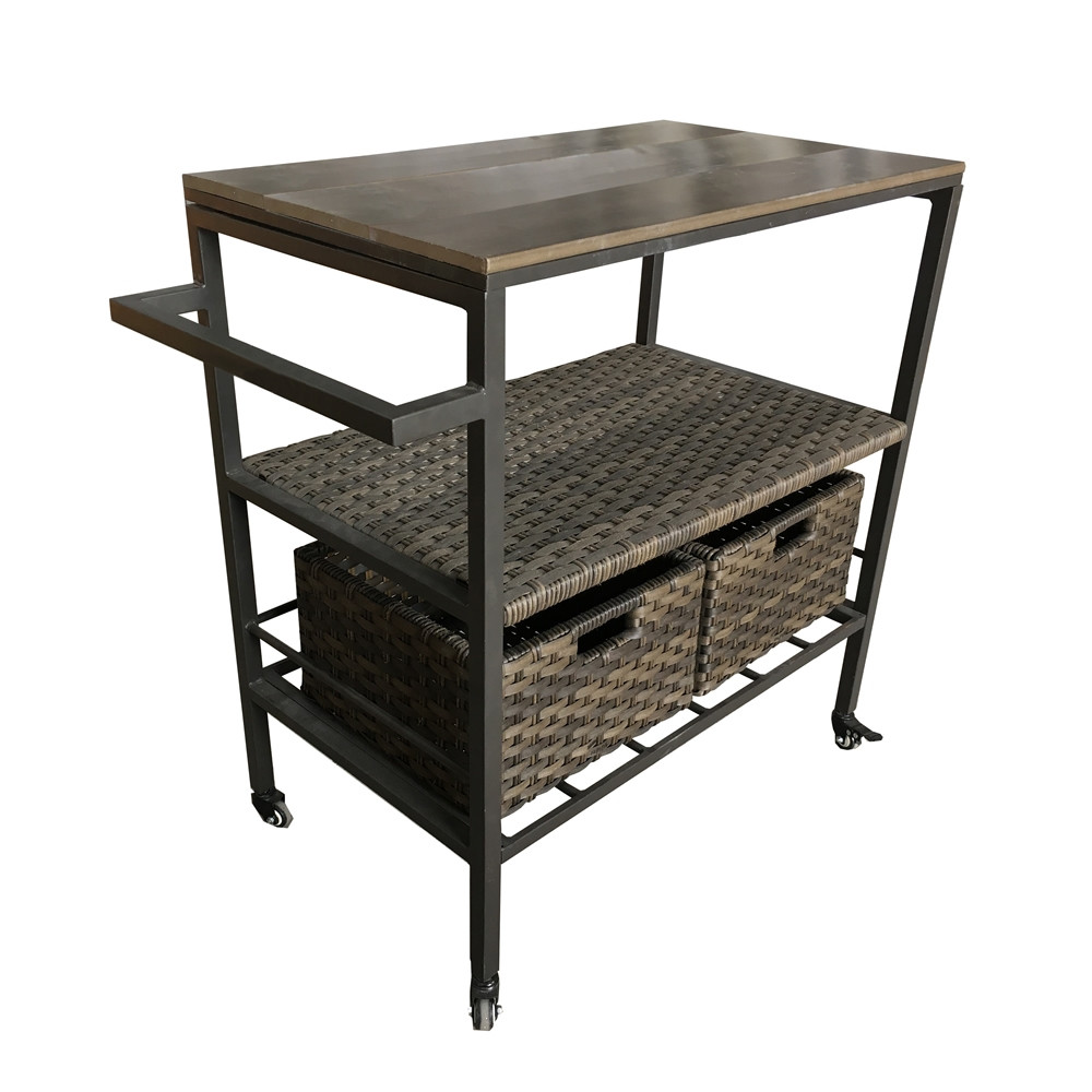 Thy Hom Wicker Serving Cart With Wheels