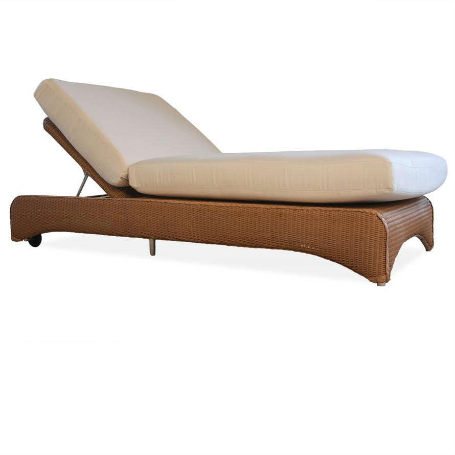 Lloyd flanders wicker double pool chaise lounge wicker for Bamboo chaise lounge