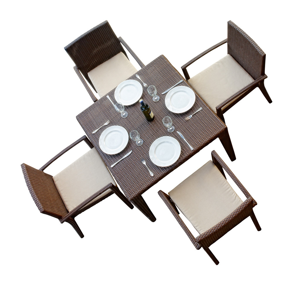 hospitality rattan cava 5 piece wicker dining set modern. Black Bedroom Furniture Sets. Home Design Ideas