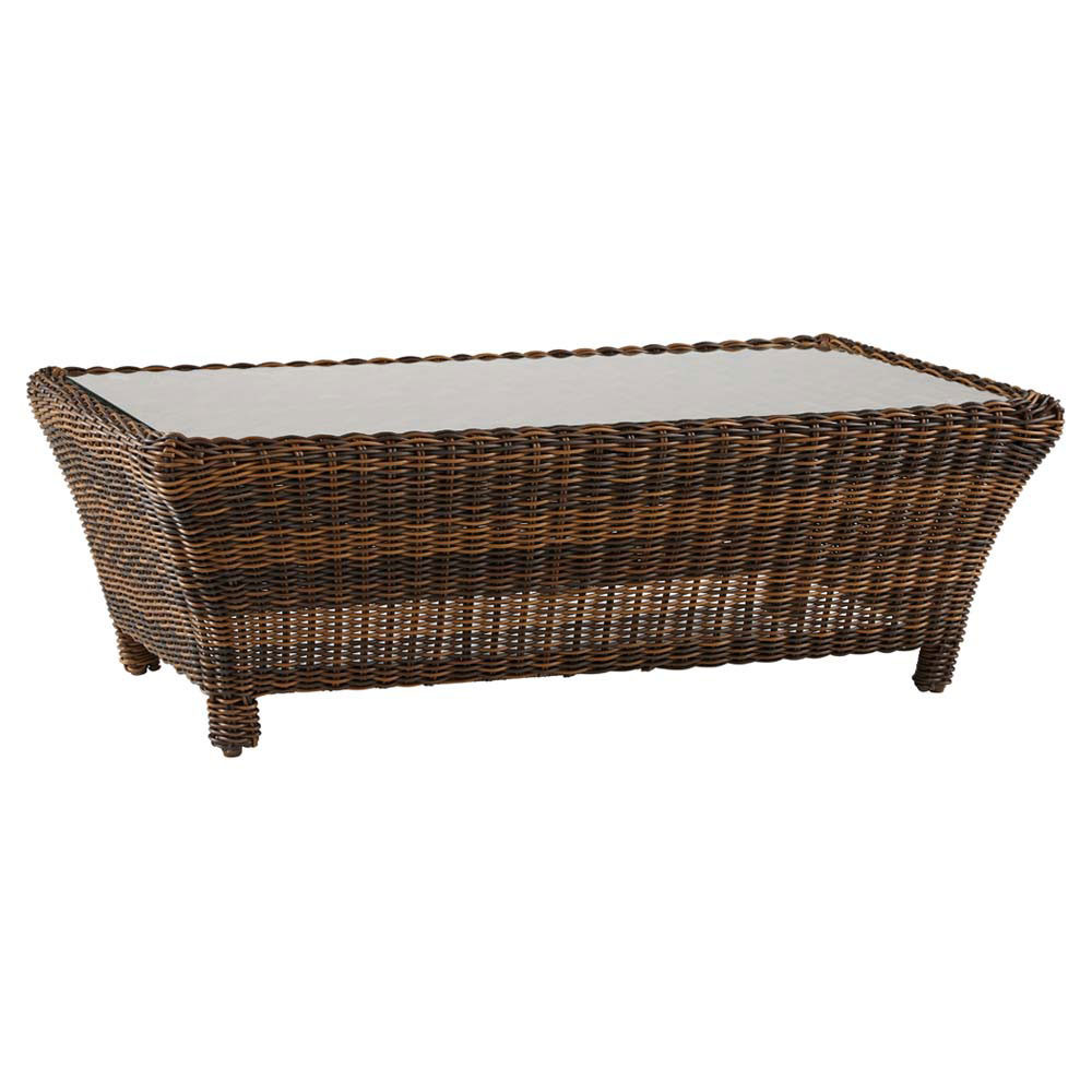 South sea rattan del ray wicker rectangular coffee table for Rattan coffee table